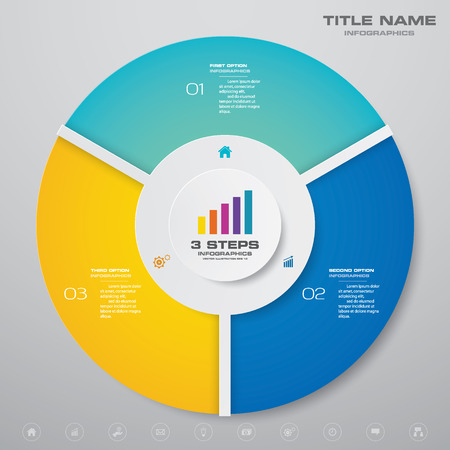 3 steps cycle chart infographics elements. EPS 10.