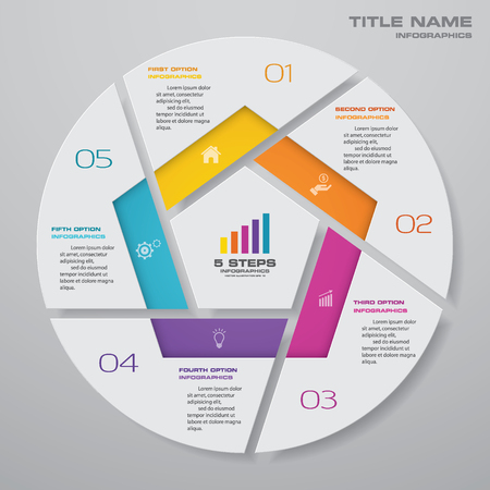 5 steps cycle chart infographics elements. EPS 10.