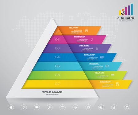 7 steps pyramid with free space for text on each level. infographics, presentations or advertising. EPS10.