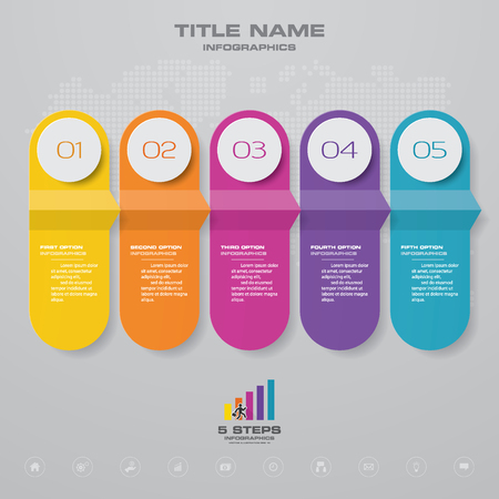 5 steps timeline infographic element. 5 steps infographic, vector banner can be used for workflow layout, diagram,presentation, education or any number option. Illustration
