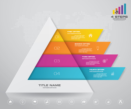 4 steps pyramid with free space for text on each level. infographics, presentations or advertising. EPS10.