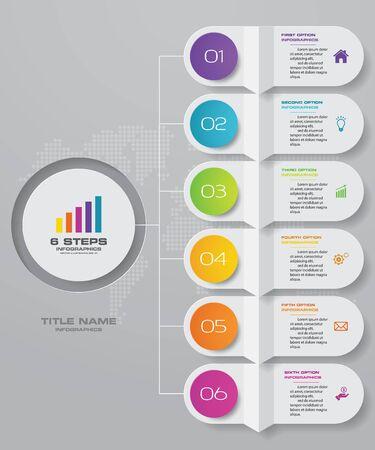 6 kroków prostego i edytowalnego elementu infografiki wykresu procesu.
