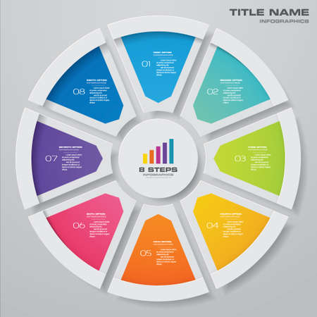 8 steps cycle chart infographics elements for data presentation. EPS 10.