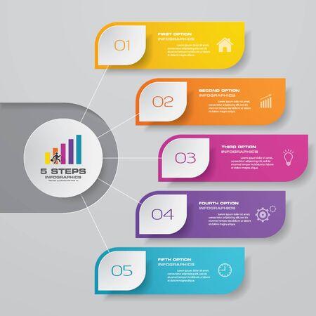 5 steps simple&editable process chart infographics element.