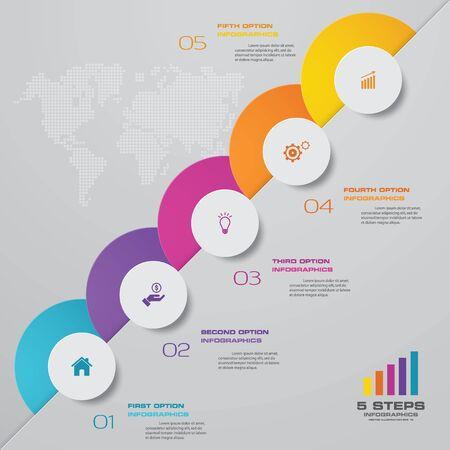 Elemento de diseño de gráfico de infografías de 5 pasos. Para presentación de datos. Ilustración de vector