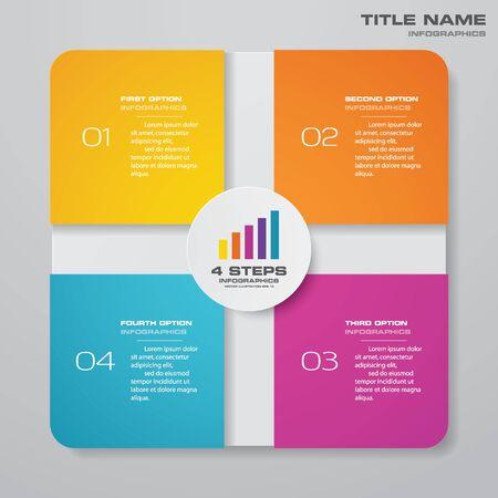 4 Schritte einfaches und bearbeitbares Infografik-Element für Prozessdiagramme.