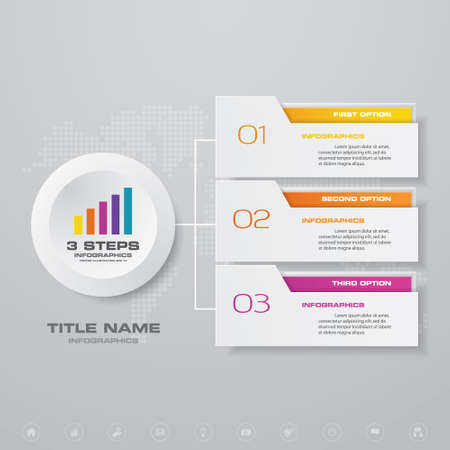 3 steps infographics chart design element. For data presentation.