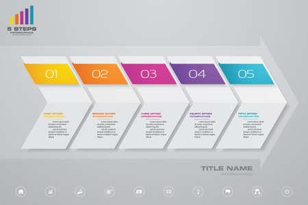 5 steps of arrow infografics template. for your presentation. Vettoriali