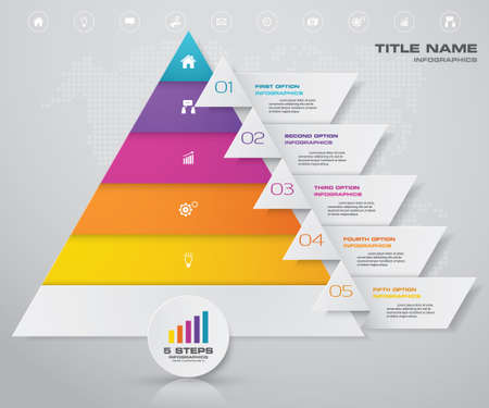 5 steps pyramid with free space for text on each level. infographics, presentations or advertising. EPS 10. Иллюстрация