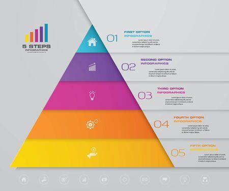 Pięciostopniowa piramida z wolnym miejscem na tekst na każdym poziomie. infografiki, prezentacje czy reklamy.