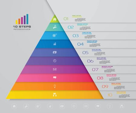 10-stopniowa piramida z wolnym miejscem na tekst na każdym poziomie. infografiki, prezentacje czy reklamy. Ilustracje wektorowe