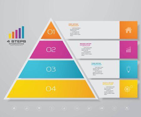 4-stopniowa piramida z wolnym miejscem na tekst na każdym poziomie. infografiki, prezentacje czy reklamy. Ilustracje wektorowe