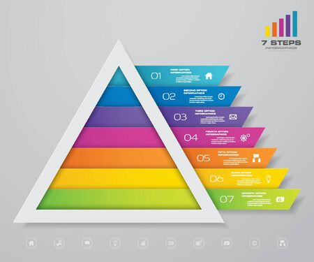 7 steps pyramid with free space for text on each level. infographics, presentations or advertising.