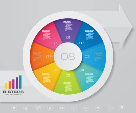 Gráfico circular de 8 pasos / gráfico circular con elemento de diseño de infografías de flecha. Ilustración de vector