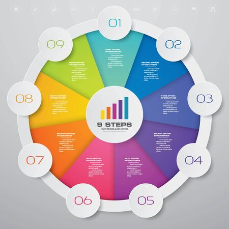 9 steps cycle chart infographics elements for data presentation. Vector Illustratie
