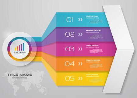 Plantilla de infografías de 5 pasos de flecha. para su presentación.