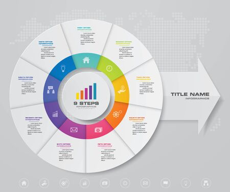9 steps pie chart/ circle chart with arrow infographics design element.