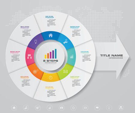 Grafico a torta / cerchio a 8 passaggi con elemento di design infografica freccia. Vettoriali