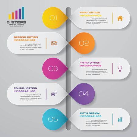 Elemento de infografía de línea de tiempo de 5 pasos.