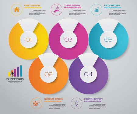 5 steps simple&editable process chart infographics element. Иллюстрация