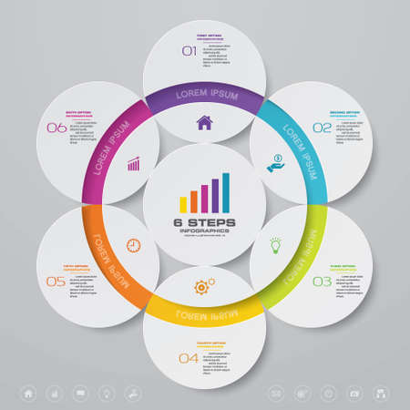 6 steps simple&editable process chart infographics element.