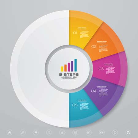 5 steps cycle chart infographics elements for data presentation. EPS 10. Иллюстрация