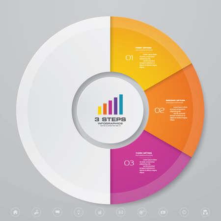 3 steps cycle chart infographics elements for data presentation. Иллюстрация