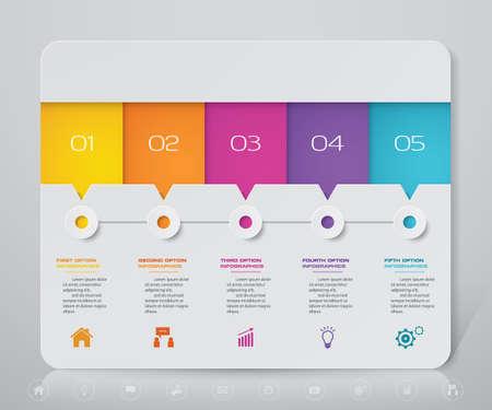 5 steps simple&editable process chart infographics element. Vektoros illusztráció