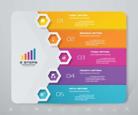 5 steps simple&editable process chart infographics element. EPS 10.
