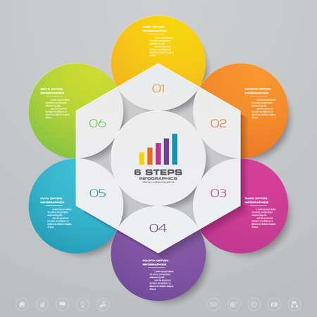 6 steps simple&editable process chart infographics element. EPS 10. Vektorgrafik