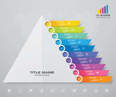 10 steps pyramid with free space for text on each level. infographics, presentations or advertising. EPS 10. Иллюстрация