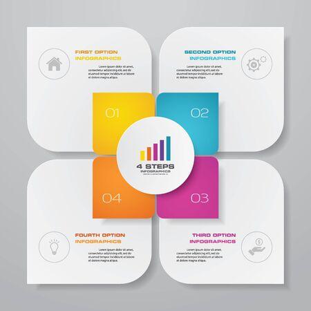 4 steps simple&editable process chart infographics element. EPS 10. Vecteurs