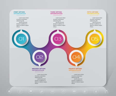5 steps timeline infographic element. 5 steps infographic, vector banner can be used for workflow layout, diagram,presentation, education or any number option. EPS10.