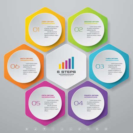 6 steps infographics chart design element. For data presentation.