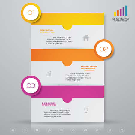3 steps simple&editable process chart infographics element. EPS 10. Иллюстрация