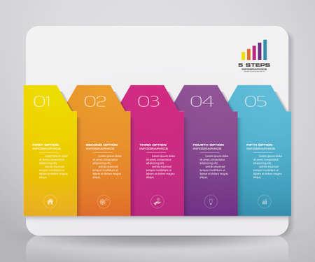 5 steps infographics chart design element.