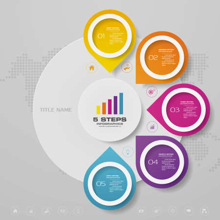 5 steps infographics chart design element. Vecteurs