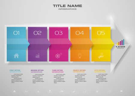 5 steps of arrow infografics template. for your presentation. Ilustração