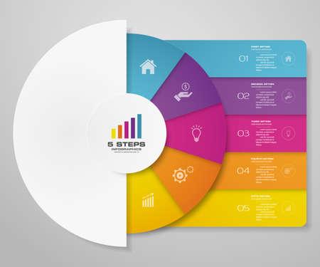 5 steps cycle chart infographics elements for data presentation. Иллюстрация