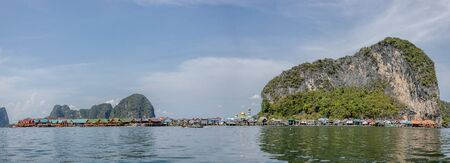 Panorama view of Panyi floating village. Fisherman village in the sea. Panyi is locate in Pang-nga province, southern of Thailand.