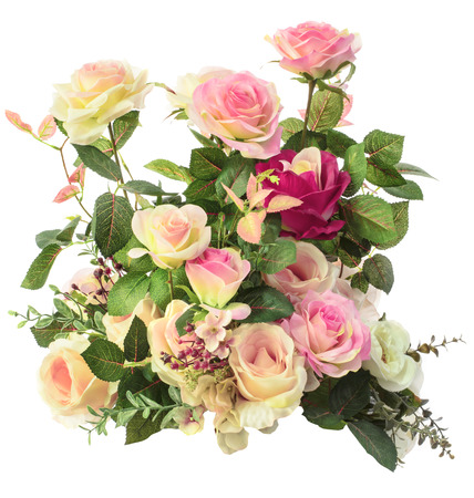 artificial flowers: close up of pink roses flowers bouquet isolated white background