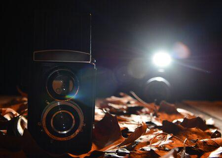 Retro design photo camera, still life photo