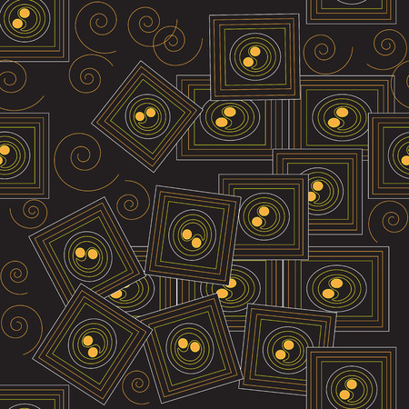 scaled: Stylish and magic seamless pattern from yellow abstract squares on a brown background (can be repeated and scaled in any size) Illustration