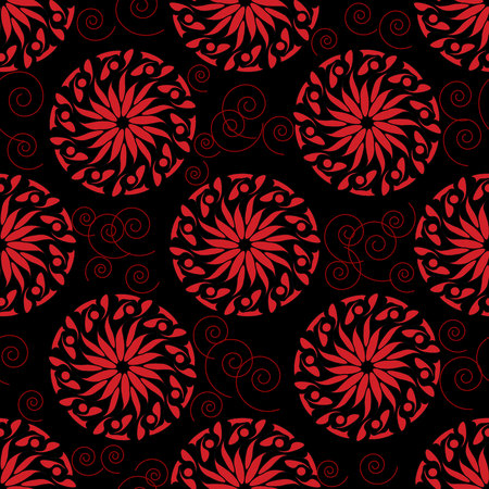 any size: Seamless pattern from red abstract plants on a black  background (can be repeated and scaled in any size)