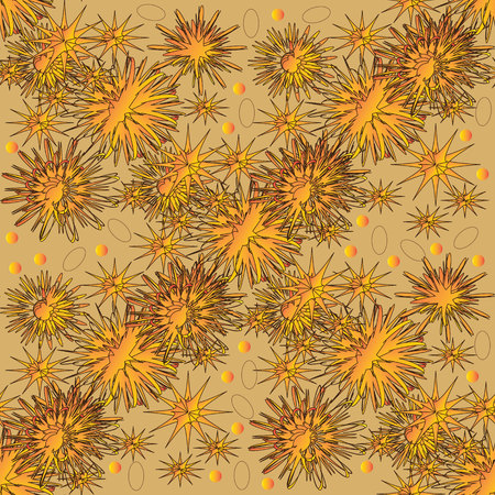scaled: Abstract flowers seamless pattern. Yellow and orange flowers and stars on the light background. Can be repeated and scaled in any size. Illustration