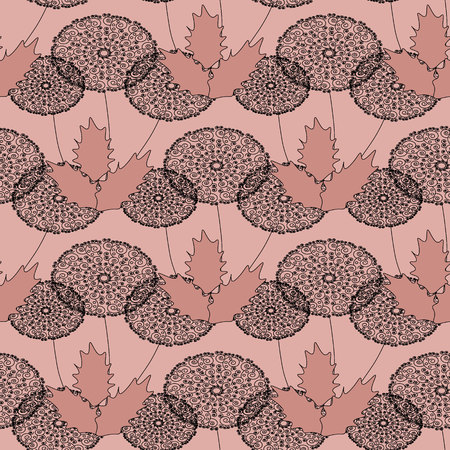 any size: Ornament from gentle air dandelions on a pink, flesh-colored background. Seamless pattern. Can be repeated and scaled in any size.