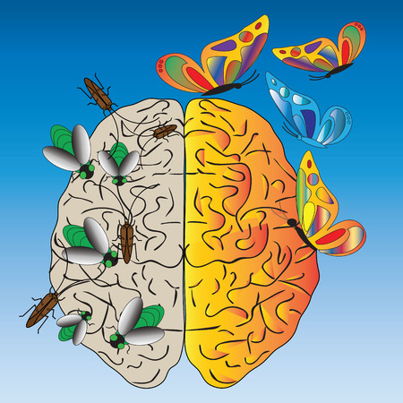 insincerity: Vector illustration about temptation, addiction and negative thoughts. On the blue background is a human brain with green flies, cockroaches, butterflies. (Can be repeated and scaled in any size.) Illustration