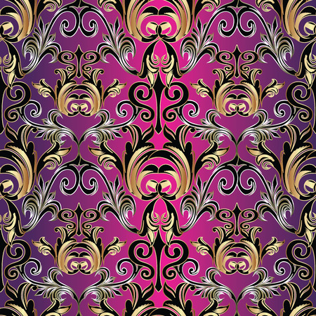 dcor: Violet Baroque damask seamless pattern background wallpaper with vintage flowers leaves and ornaments. Vector damask pattern.