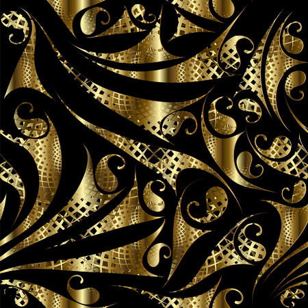 Gold paisley seamless pattern. Abstract floral background. Modern golden lace ornaments with hand drawn paisley flowers, shapes, figures. Endless surface texture. Design for fabric, wallpapers, prints