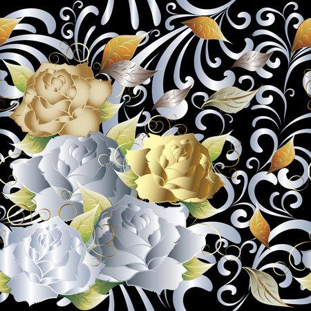 Roses floral vector seamless pattern. Vintage background.